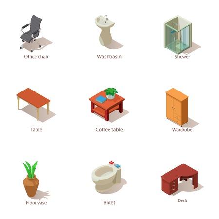 Furnished apartment icons set. Isometric set of 9 furnished apartment vector icons for web isolated on white background