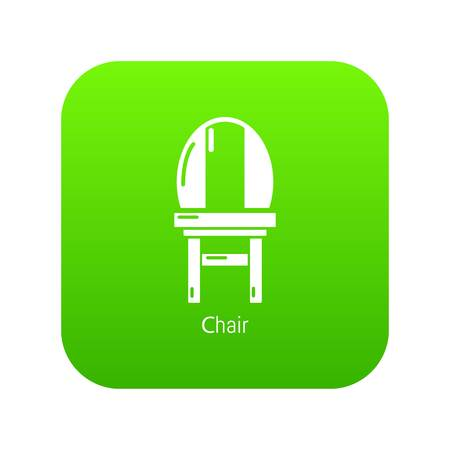 Chair icon green vector isolated on white background