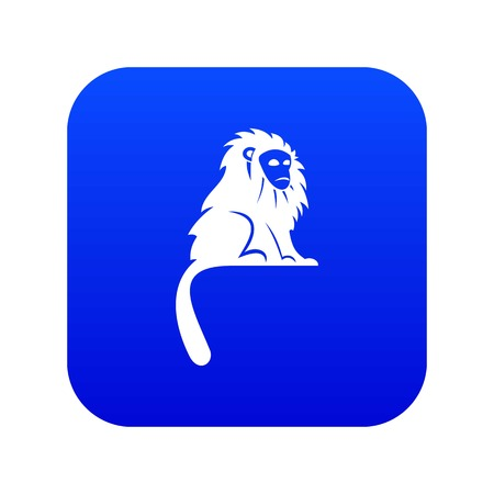 Hairy monkey icon digital blue for any design isolated on white vector illustration Banque d'images - 127732394