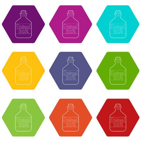 Ethanol in bottle icons 9 set coloful isolated on white for web Illustration