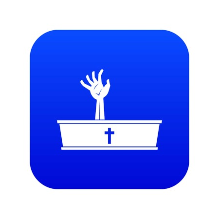Zombie hand coming out of his coffin icon digital blue Illustration