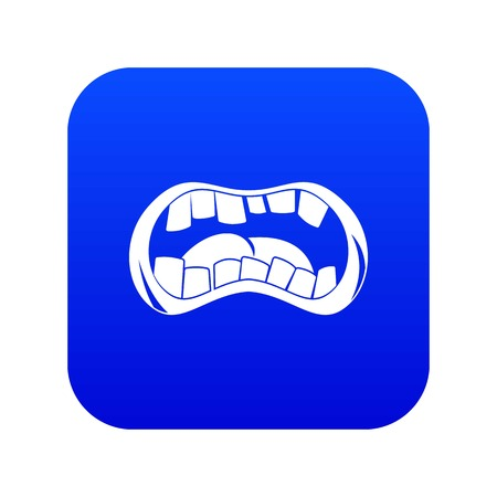 Zombie mouth icon digital blue for any design isolated on white vector illustration