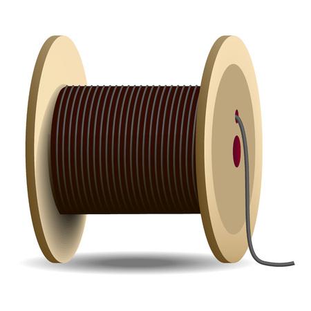 Symbol für die Kabelspule. Realistische Darstellung der Kabelspulenvektorikone für das Webdesign lokalisiert auf weißem Hintergrund