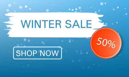 Shop now winter sale concept background. Realistic illustration of shop now winter sale vector concept background for web design