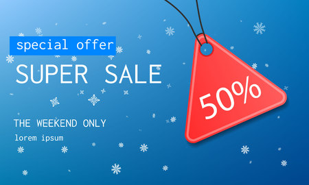 Winter super sale concept background. Realistic illustration of winter super sale vector concept background for web design