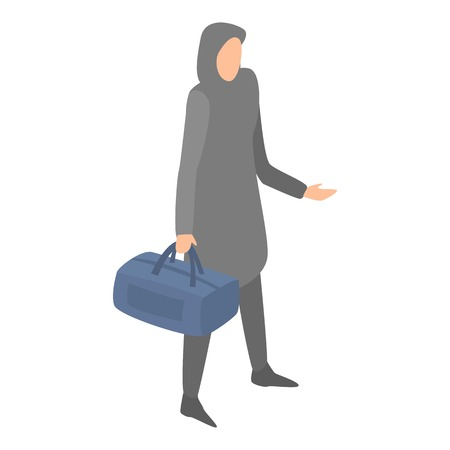 Muslim homeless woman with bag icon, isometric style