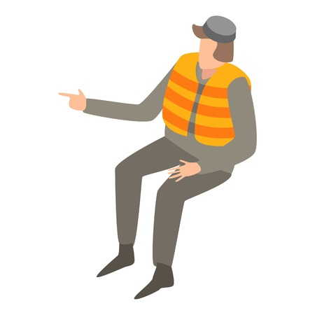Migrant man in life vest icon. Isometric of migrant man in life vest vector icon for web design isolated on white background Illustration