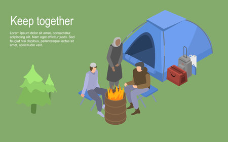 Keep together homeless family concept background, isometric style