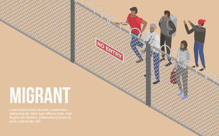 Migrant people at border country concept background, isometric style