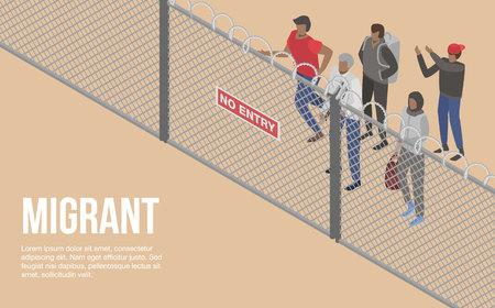 Personnes migrantes à l'arrière-plan du concept de pays frontalier, style isométrique