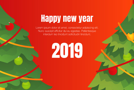 Happy New Year 2019 concept background. Isometric illustration of Happy New Year 2019 vector concept background for web design