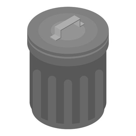 Icône de poubelle en métal, style isométrique