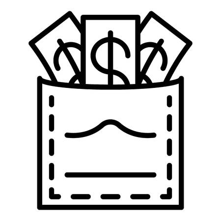 Corruption money in pocket icon. Outline corruption money in pocket vector icon for web design isolated on white background