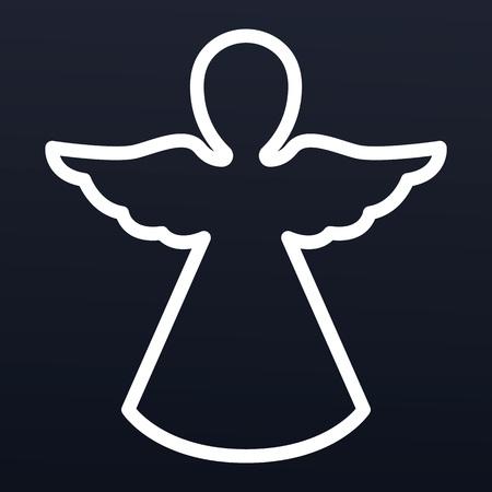 Icono de ángel de Navidad, estilo de contorno
