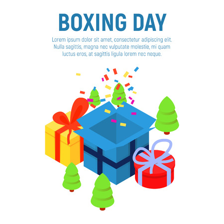 Boxing day concept background. Isometric illustration of boxing day vector concept background for web design