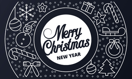 Merry Christmas holiday banner. Outline illustration of Merry Christmas holiday vector banner for web design Illustration