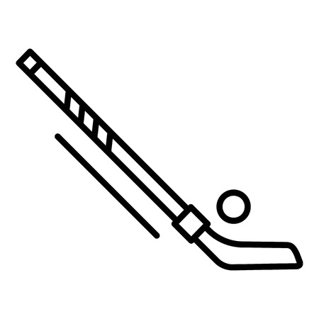 Hockey puck and stick icon, outline style Illustration
