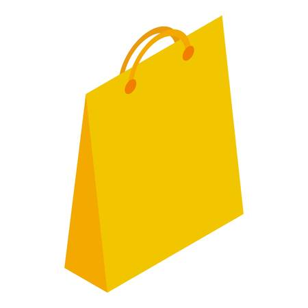 Yellow paper shop bag icon. Isometric of yellow paper shop bag vector icon for web design isolated on white background Illustration