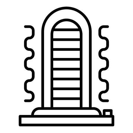 Verwarmingspictogram. Overzicht kachel vector pictogram voor webdesign geïsoleerd op een witte achtergrond Vector Illustratie