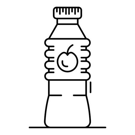Plastic bottle apple vinegar icon. Outline plastic bottle apple vinegar vector icon for web design isolated on white background Çizim