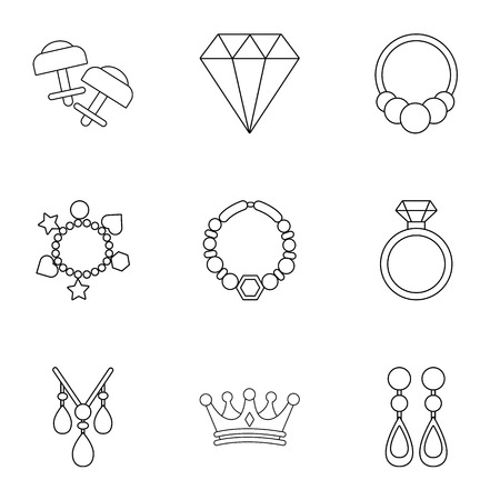 Shackle icons set. Outline set of 9 shackle vector icons for web isolated on white background