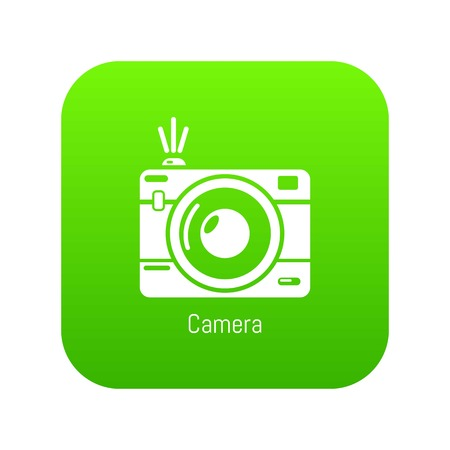 Camera icon green vector isolated on white background