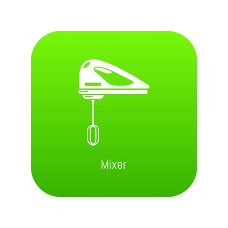 Mixer kitchen icon green vector isolated on white background