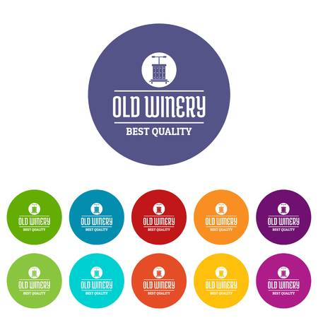 Quality old winery icons set vector color