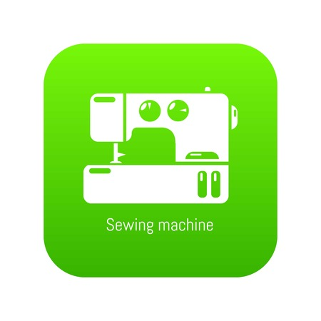 Sewing machine icon green vector isolated on white background
