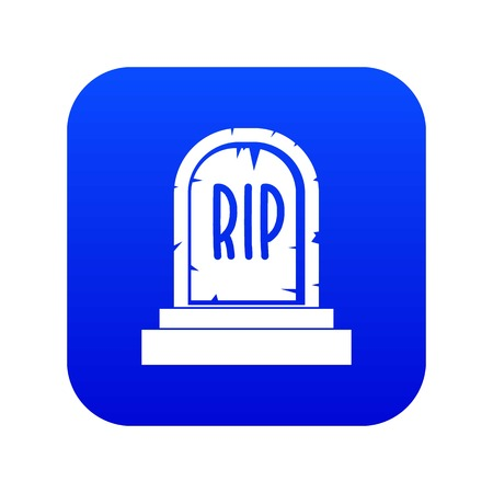 Gravestone with RIP text icon digital blue for any design isolated on white vector illustration Illustration