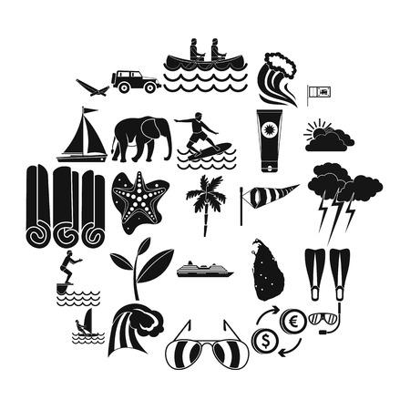 Kitesurfing icons set. Simple set of 25 kitesurfing vector icons for web isolated on white background