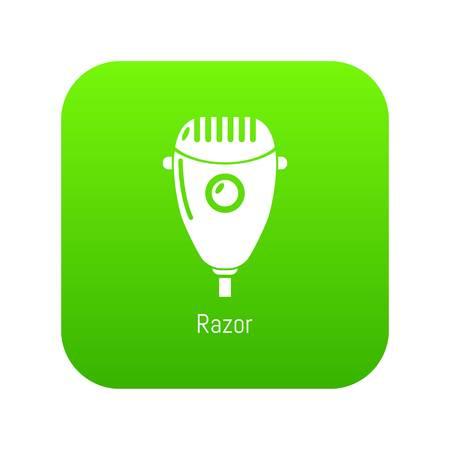 Razor icon green vector isolated on white background Illustration