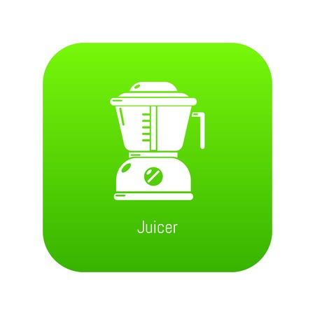 Juicer icon green vector isolated on white background