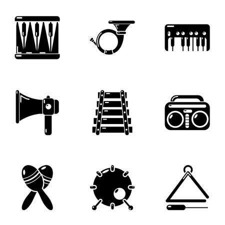 Musical composition icons set. Simple set of 9 musical composition vector icons for web isolated on white background Banque d'images - 127732768