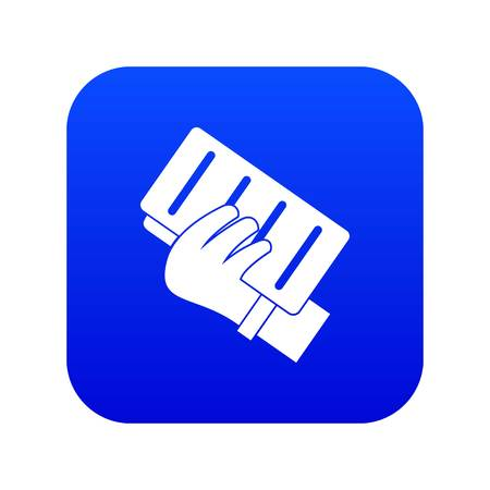 Brick in a hand icon digital blue for any design isolated on white vector illustration