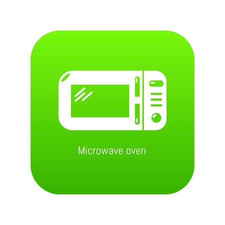 Microwave icon green vector isolated on white background Ilustração
