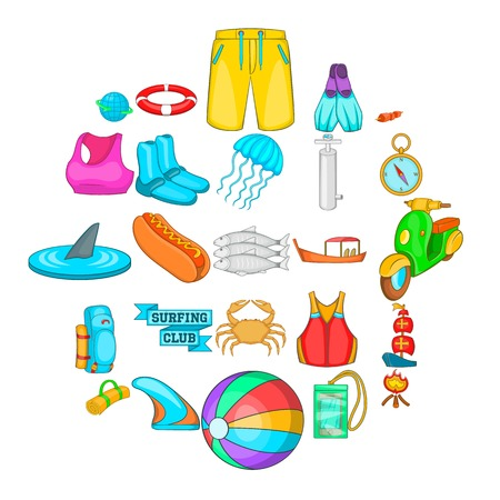 Swimming clothing icons set. Cartoon set of 25 swimming clothing vector icons for web isolated on white background Vectores