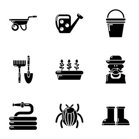 Large garden icons set. Simple set of 9 large garden vector icons for web isolated on white background  イラスト・ベクター素材