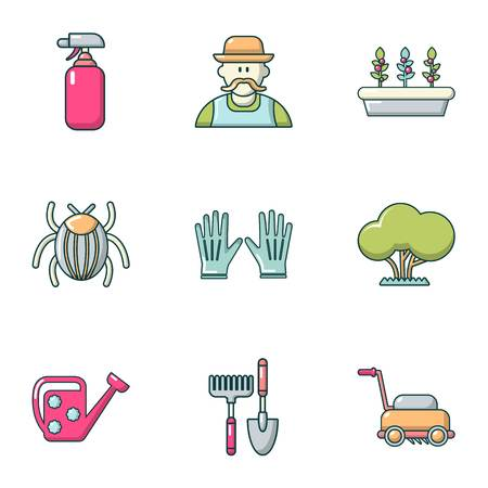 Front garden icons set. Flat set of 9 front garden vector icons for web isolated on white background  イラスト・ベクター素材