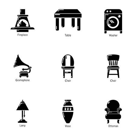 Parlour icons set. Simple set of 9 parlour vector icons for web isolated on white background Illustration