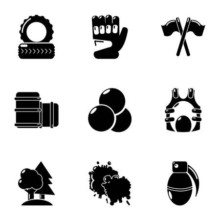 Hard game icons set, simple style