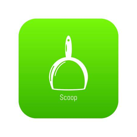 Scoop cleaning icon green vector isolated on white background