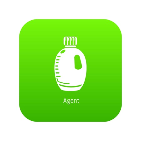 Agent bottle icon green vector isolated on white background