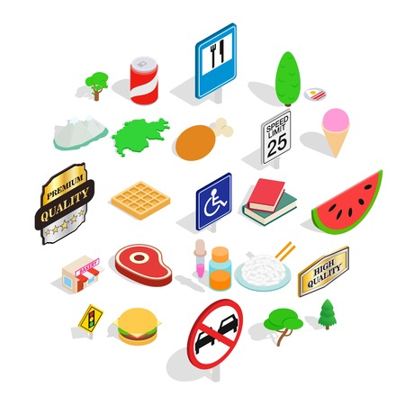 Helvetian icons set. Isometric set of 25 helvetian vector icons for web isolated on white background