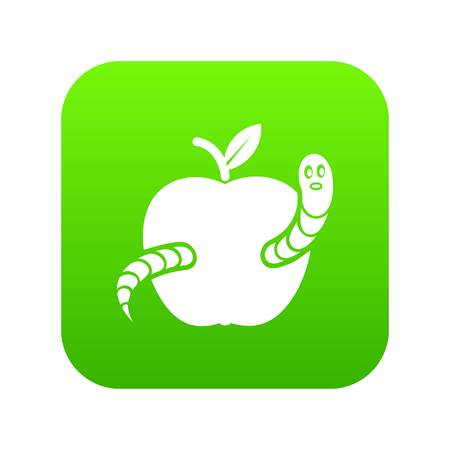 Worm apple icon green vector isolated on white background Illustration
