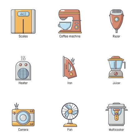 Retro memory icons set. Flat set of 9 retro memory vector icons for web isolated on white background