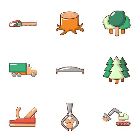 Tree felling icons set. Flat set of 9 tree felling vector icons for web isolated on white background Ilustrace