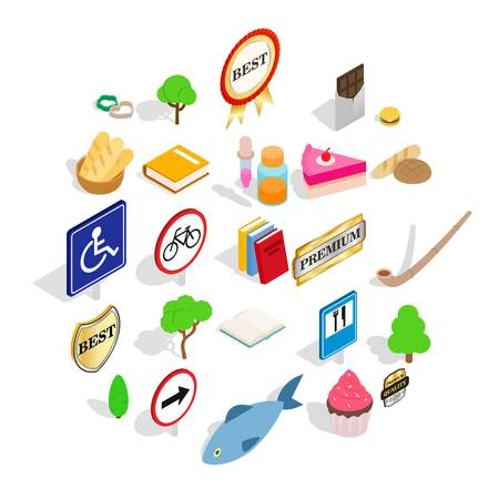 Scandinavia icons set. Isometric set of 25 scandinavia vector icons for web isolated on white background Çizim