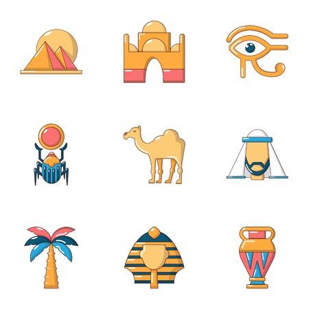 Egypt size icons set. Flat set of 9 egypt size vector icons for web isolated on white background