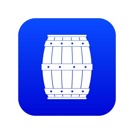 Wooden barrel icon digital blue